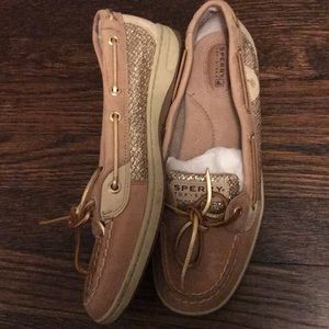 Never worn gold glitter sperry boat shoes